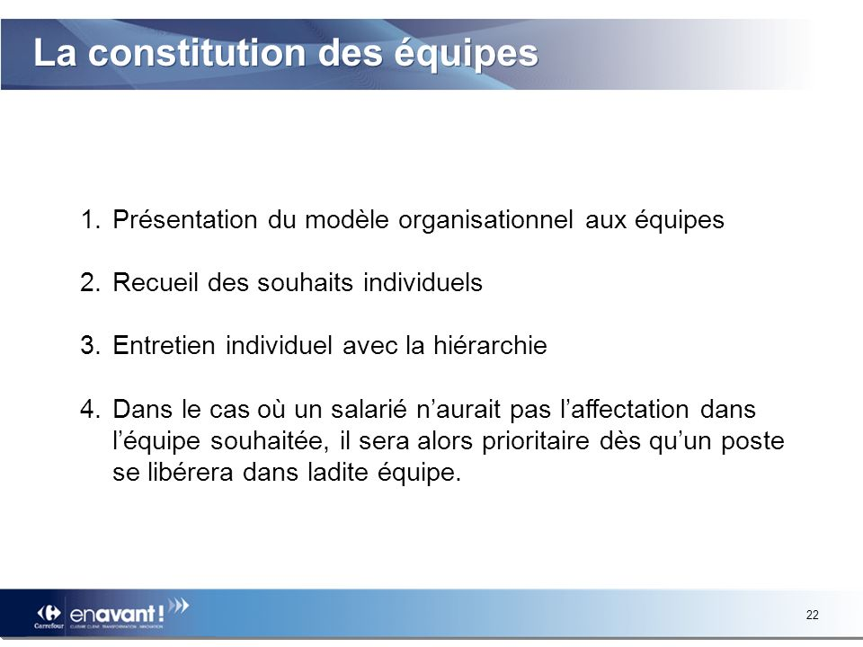 La constitution des équipes