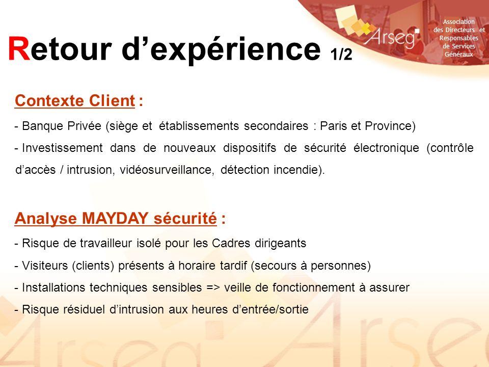 Retour d'expérience 1/2 Contexte Client : Analyse MAYDAY sécurité :