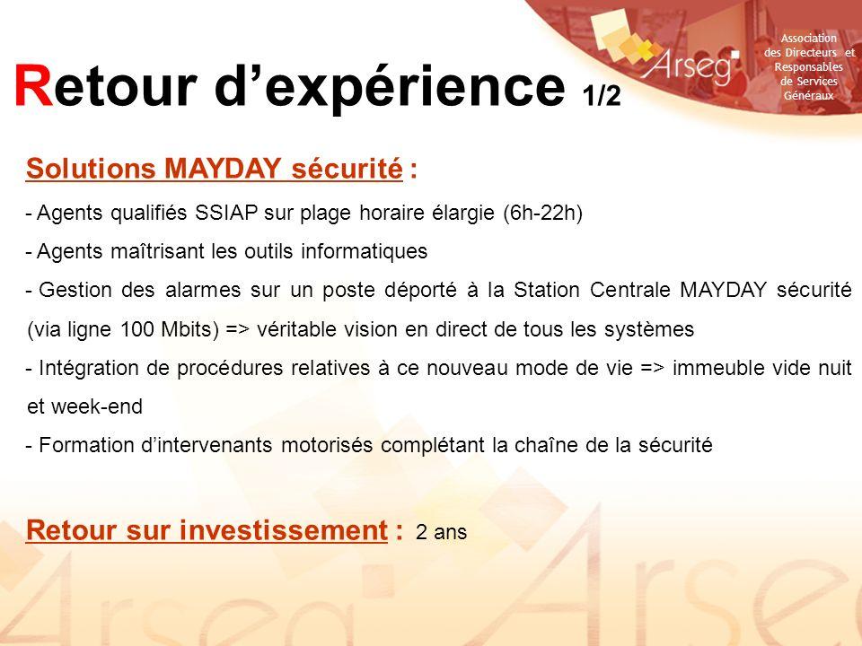 Retour d'expérience 1/2 Solutions MAYDAY sécurité :