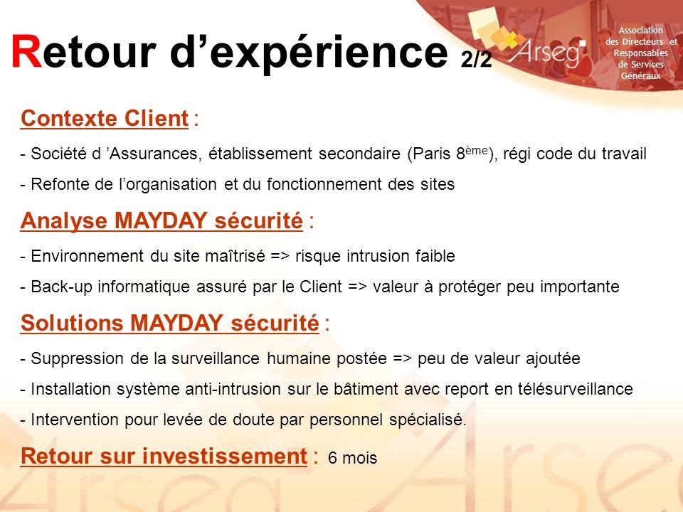 Retour d'expérience 2/2 Contexte Client : Analyse MAYDAY sécurité :