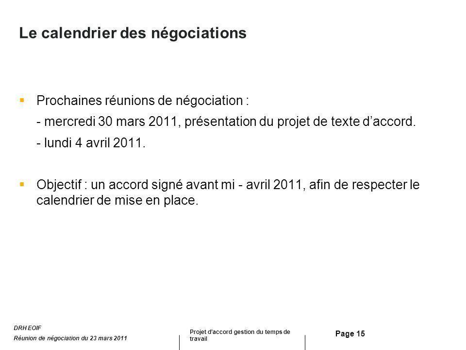 Le calendrier des négociations