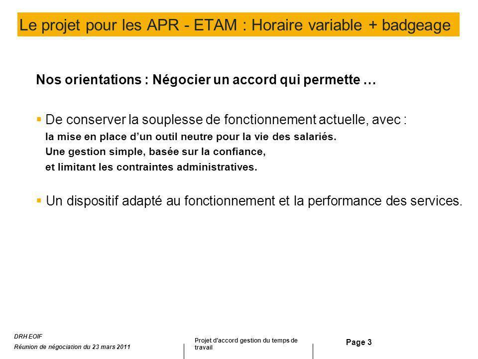 Le projet pour les APR - ETAM : Horaire variable + badgeage