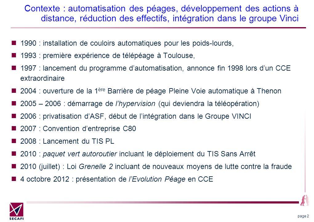 Contexte : automatisation des péages, développement des actions à distance, réduction des effectifs, intégration dans le groupe Vinci