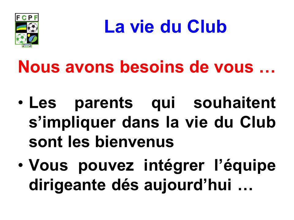 La vie du Club Nous avons besoins de vous …