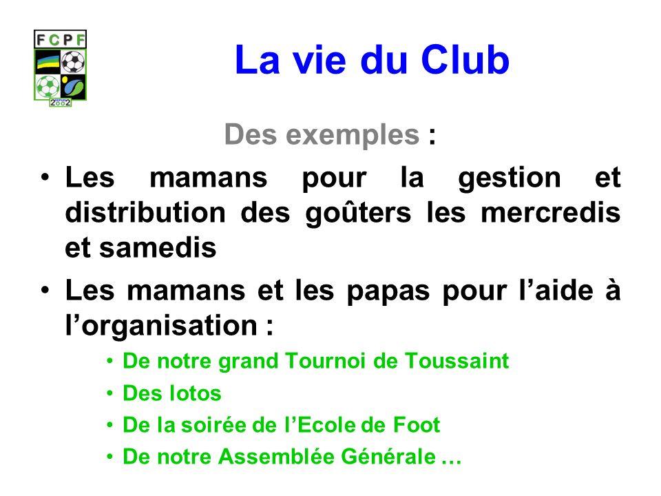 La vie du Club Des exemples :