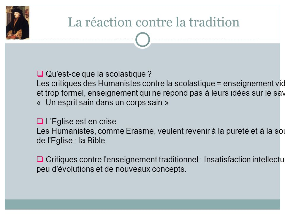 La réaction contre la tradition