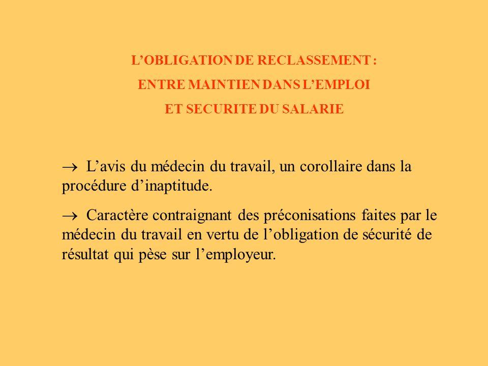 L'OBLIGATION DE RECLASSEMENT : ENTRE MAINTIEN DANS L'EMPLOI