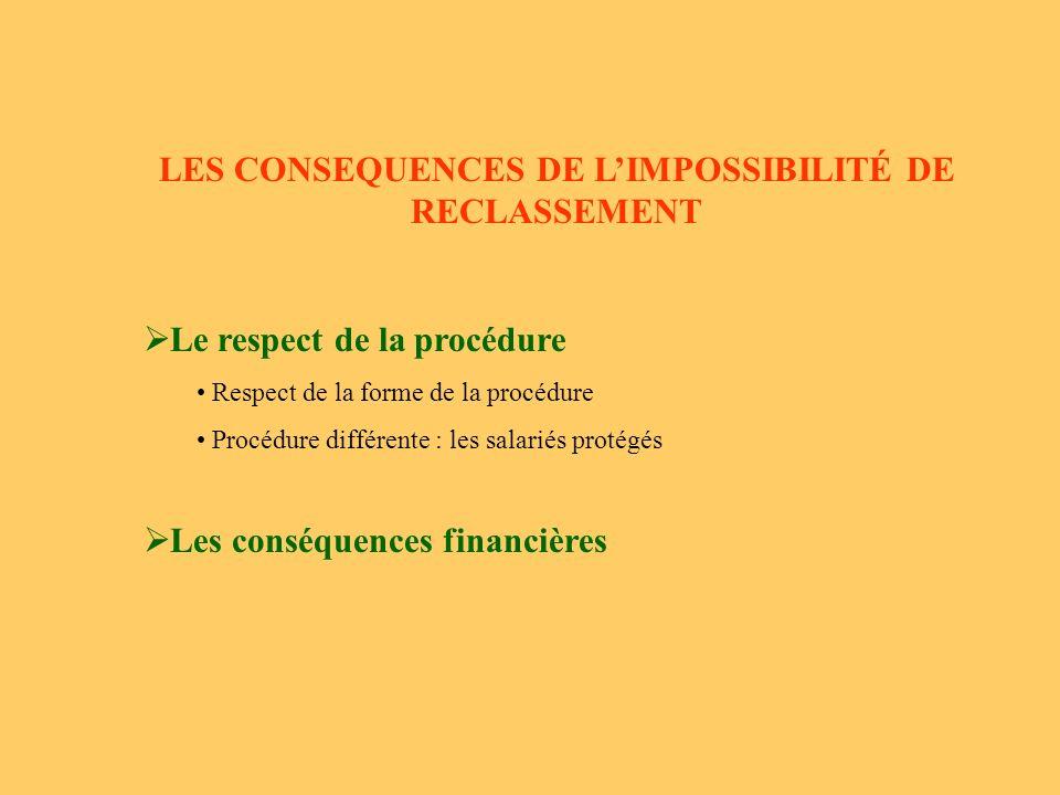 LES CONSEQUENCES DE L'IMPOSSIBILITÉ DE RECLASSEMENT