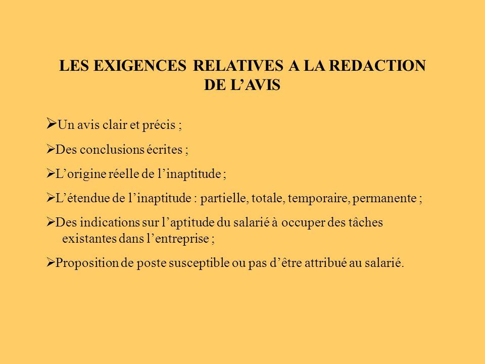 LES EXIGENCES RELATIVES A LA REDACTION DE L'AVIS