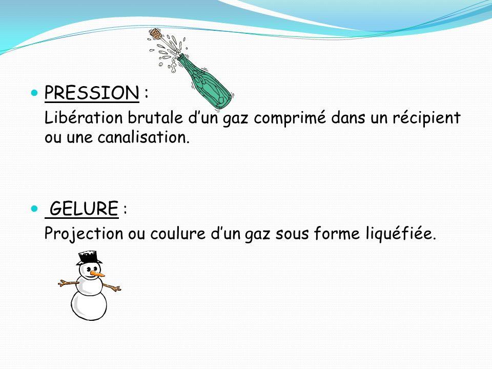 PRESSION : Libération brutale d'un gaz comprimé dans un récipient ou une canalisation. GELURE :