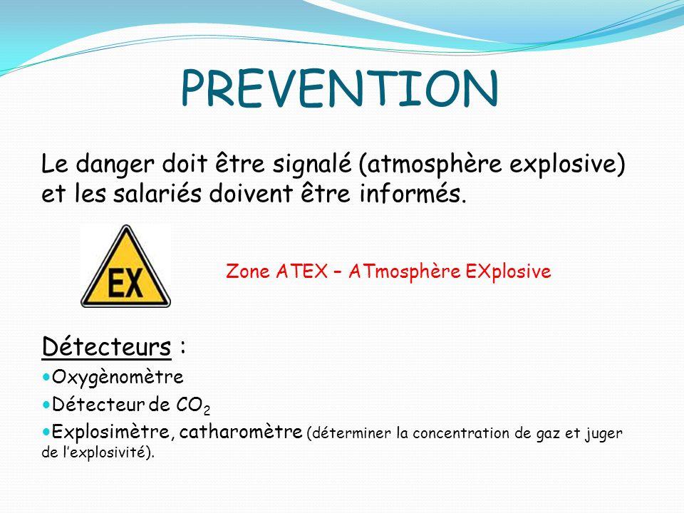 PREVENTION Le danger doit être signalé (atmosphère explosive) et les salariés doivent être informés.