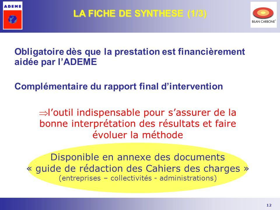 LA FICHE DE SYNTHESE (1/3)