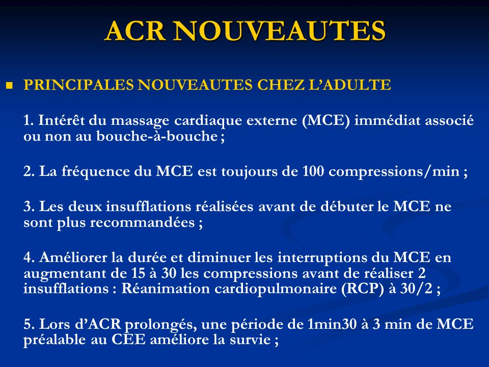ACR NOUVEAUTES PRINCIPALES NOUVEAUTES CHEZ L'ADULTE
