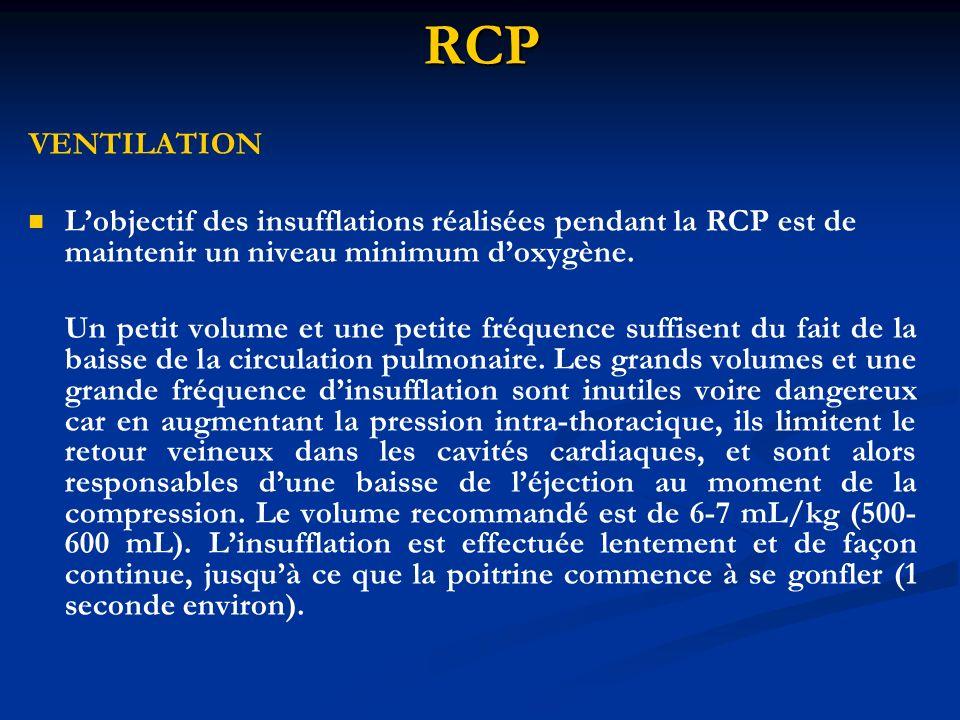 RCP VENTILATION. L'objectif des insufflations réalisées pendant la RCP est de maintenir un niveau minimum d'oxygène.