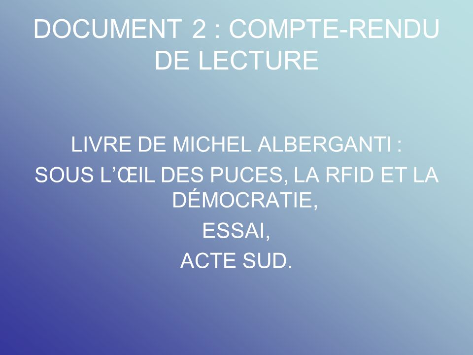 DOCUMENT 2 : COMPTE-RENDU DE LECTURE