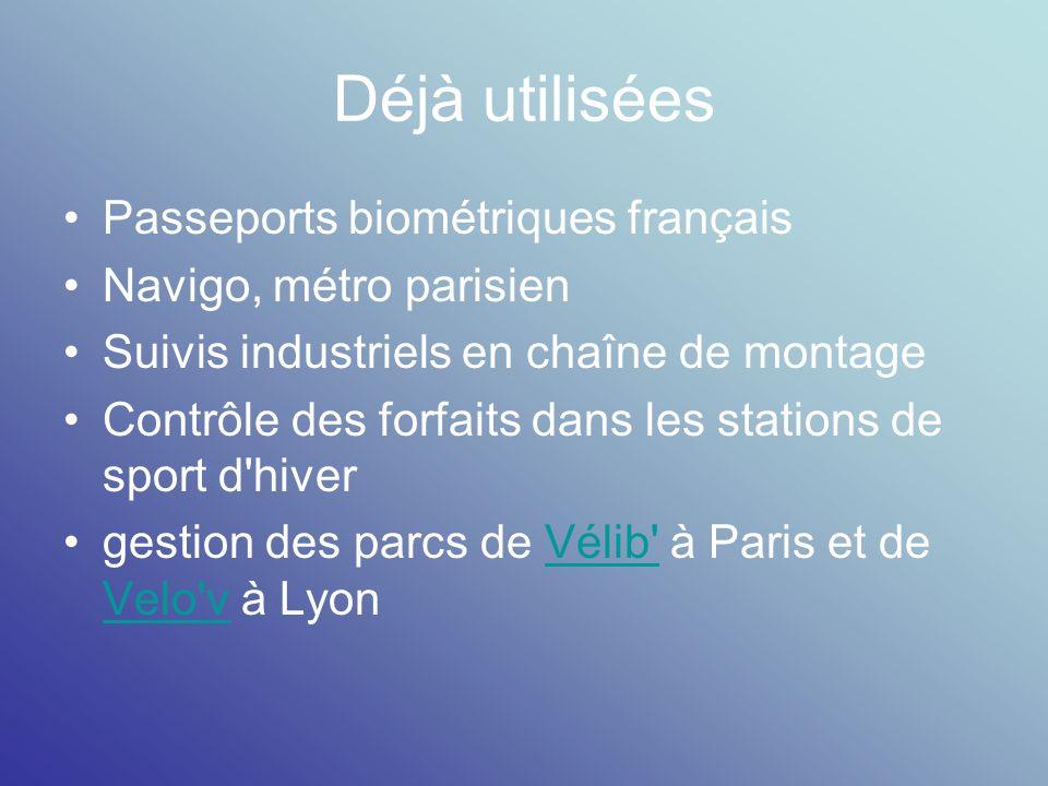 Déjà utilisées Passeports biométriques français Navigo, métro parisien