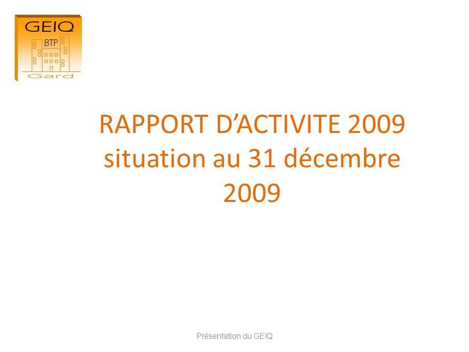 RAPPORT D'ACTIVITE 2009 situation au 31 décembre 2009