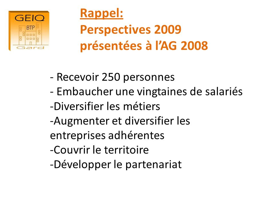 Rappel: Perspectives 2009 présentées à l'AG 2008