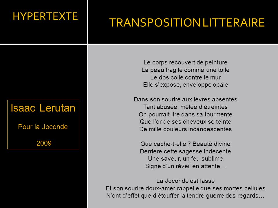 TRANSPOSITION LITTERAIRE