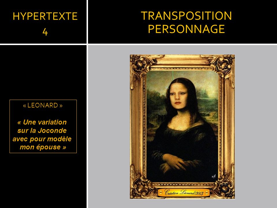 TRANSPOSITION PERSONNAGE