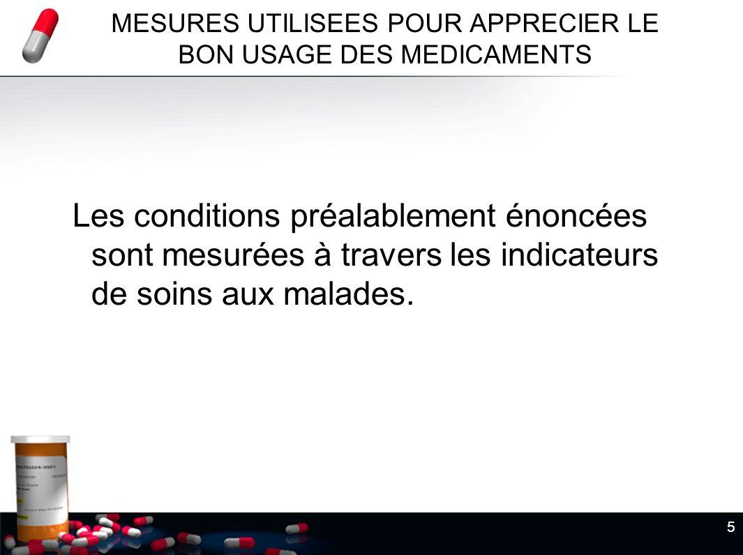 MESURES UTILISEES POUR APPRECIER LE BON USAGE DES MEDICAMENTS