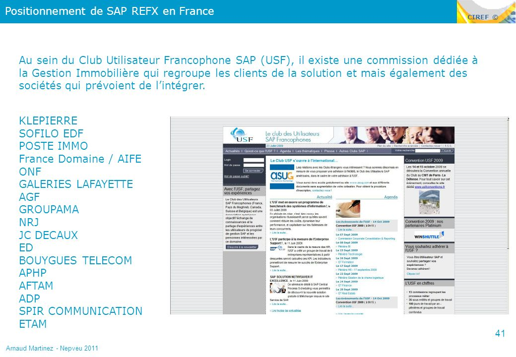 Positionnement de SAP REFX en France