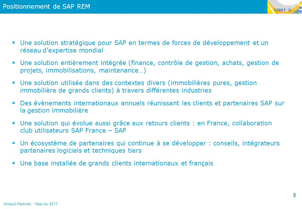 Positionnement de SAP REM