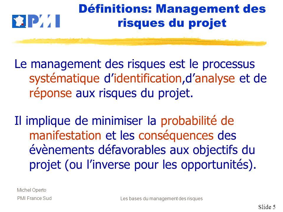 Définitions: Management des risques du projet