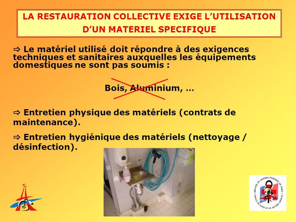LA RESTAURATION COLLECTIVE EXIGE L'UTILISATION