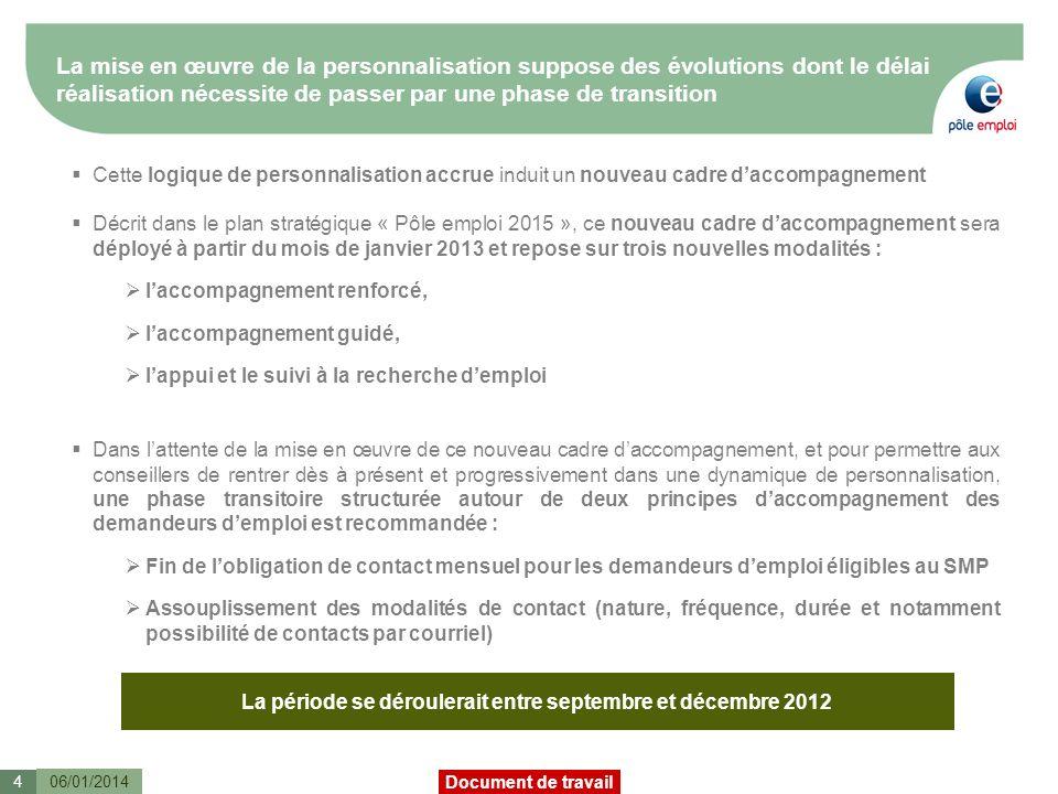 La période se déroulerait entre septembre et décembre 2012