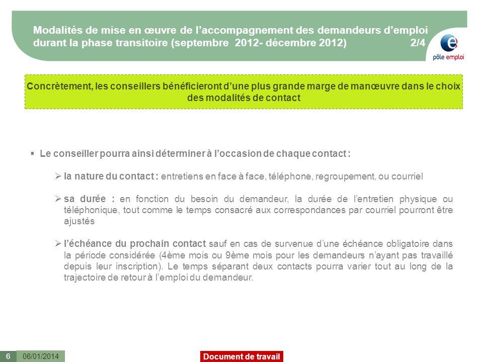 Modalités de mise en œuvre de l'accompagnement des demandeurs d'emploi durant la phase transitoire (septembre 2012- décembre 2012) 2/4