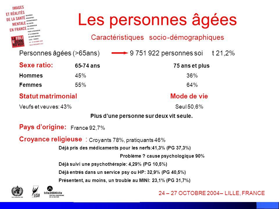 Les personnes âgées Caractéristiques socio - démographiques