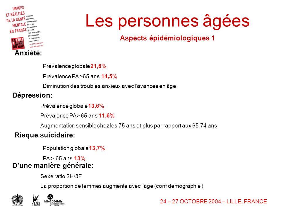 Les personnes âgées Aspects épidémiologiques 1 Anxiété: Dépression: