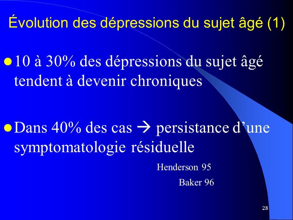 Évolution des dépressions du sujet âgé (1)