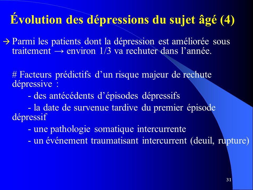Évolution des dépressions du sujet âgé (4)