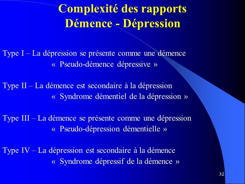 Complexité des rapports Démence - Dépression