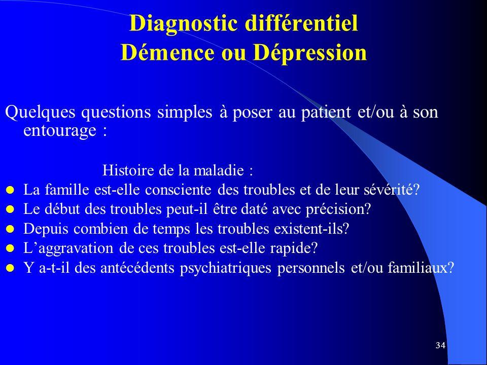 Diagnostic différentiel Démence ou Dépression