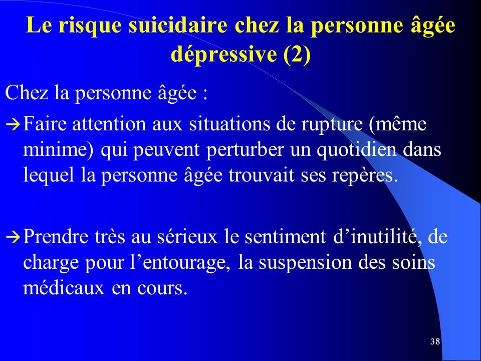 Le risque suicidaire chez la personne âgée dépressive (2)