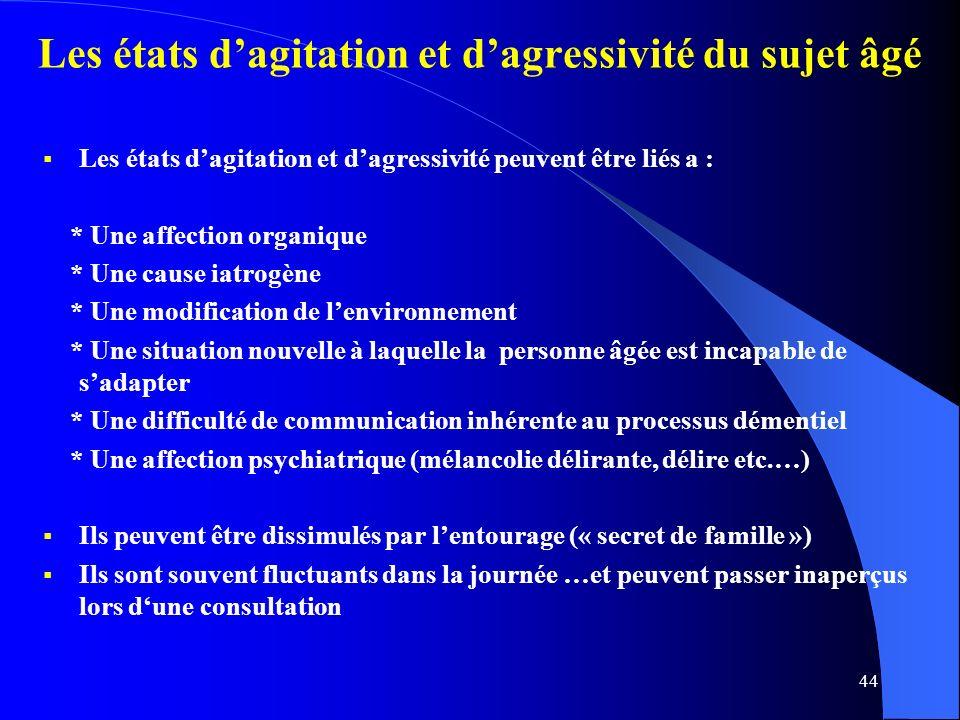 Les états d'agitation et d'agressivité du sujet âgé