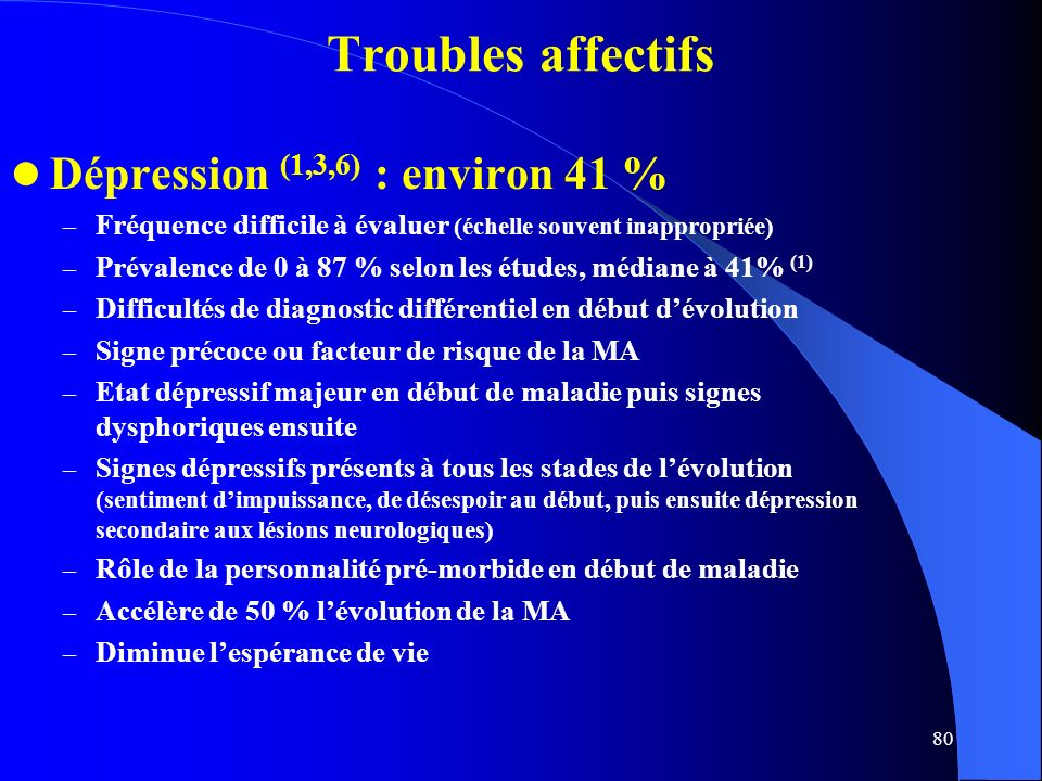 Troubles affectifs Dépression (1,3,6) : environ 41 %