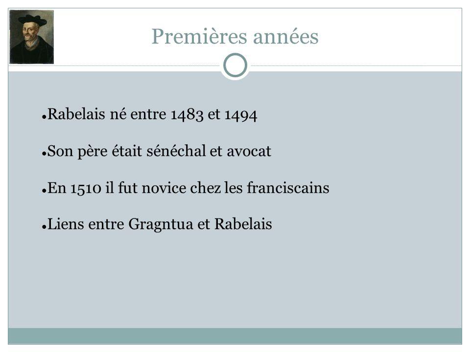 Premières années Rabelais né entre 1483 et 1494