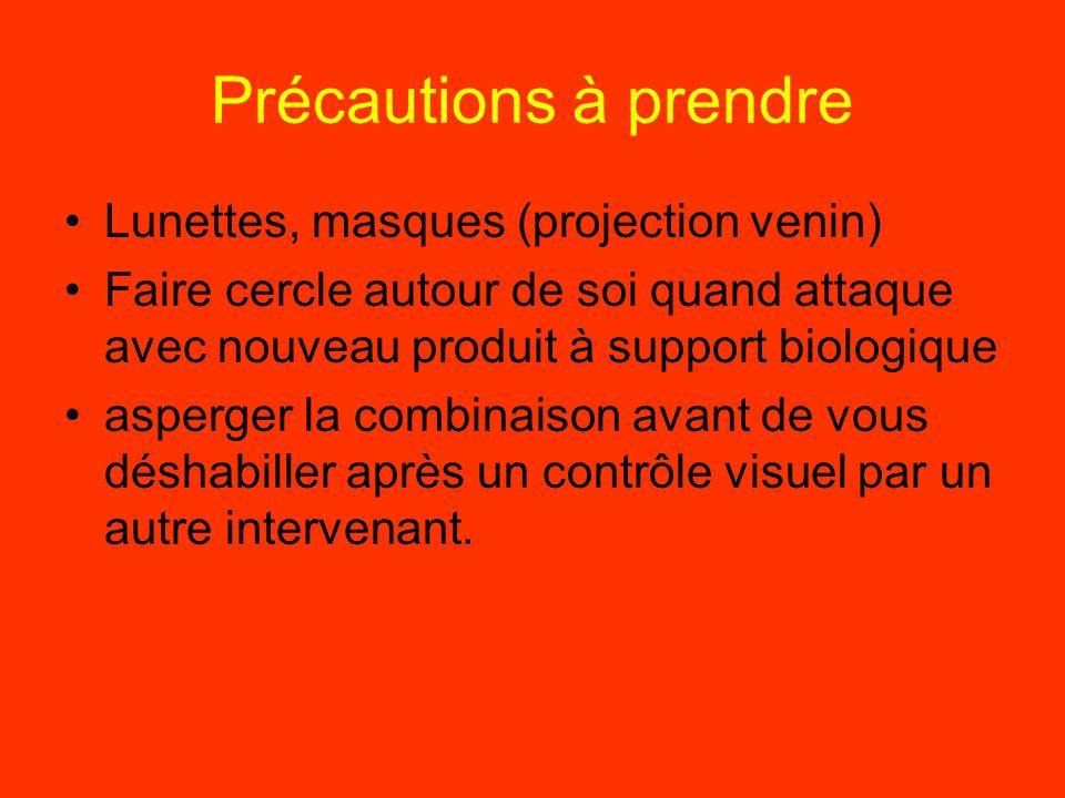 Précautions à prendre Lunettes, masques (projection venin)