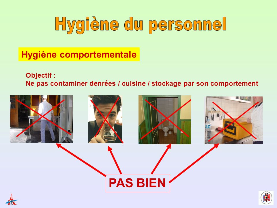 Hygiène du personnel PAS BIEN Hygiène comportementale Objectif :