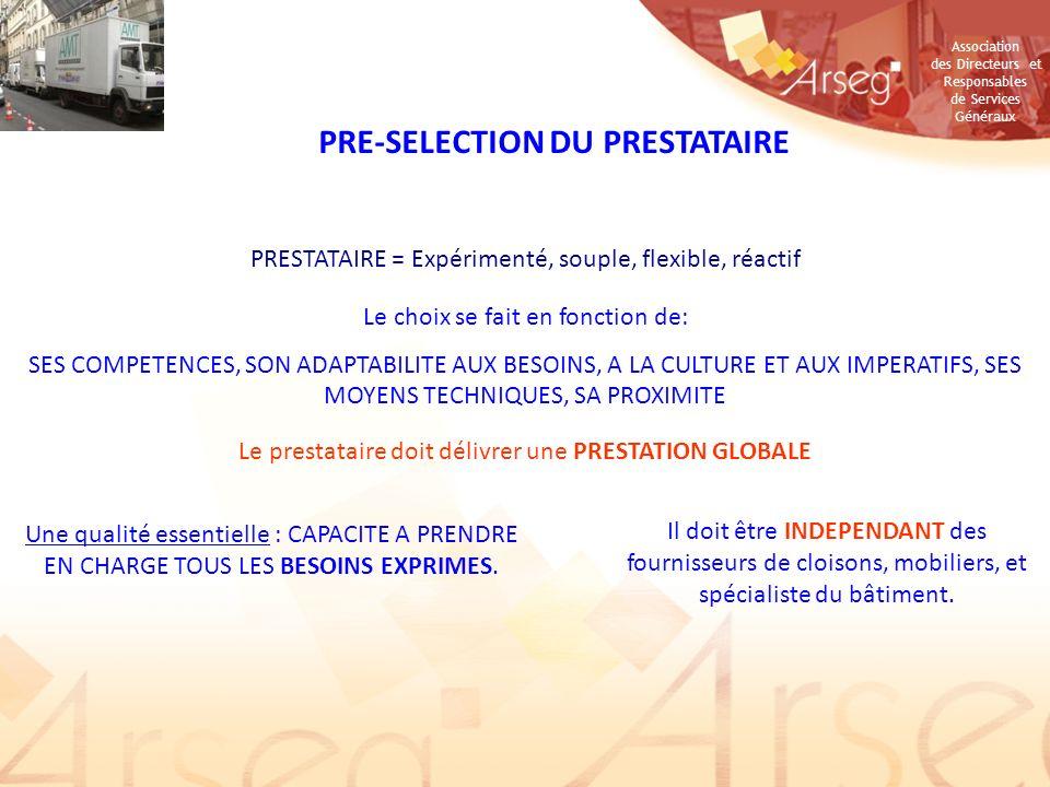 PRE-SELECTION DU PRESTATAIRE