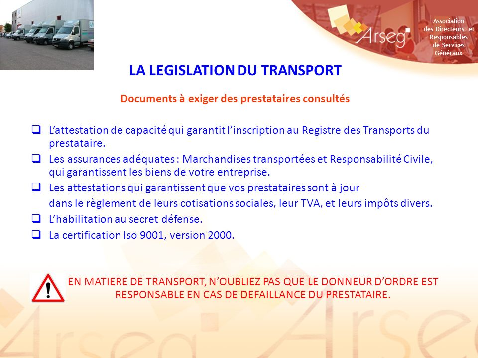 LA LEGISLATION DU TRANSPORT