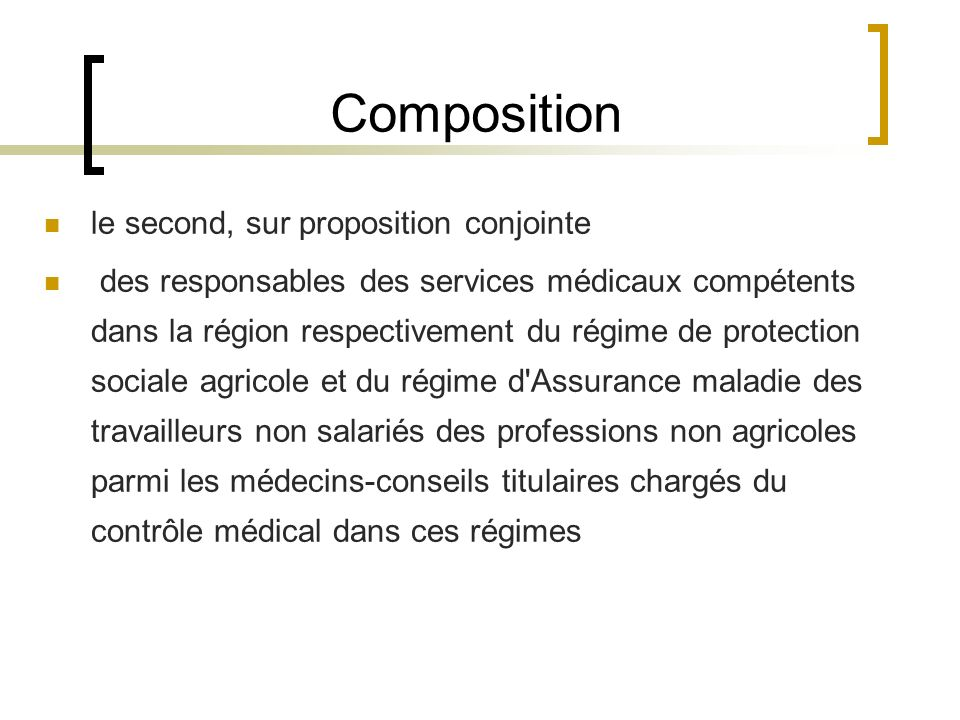 Composition le second, sur proposition conjointe