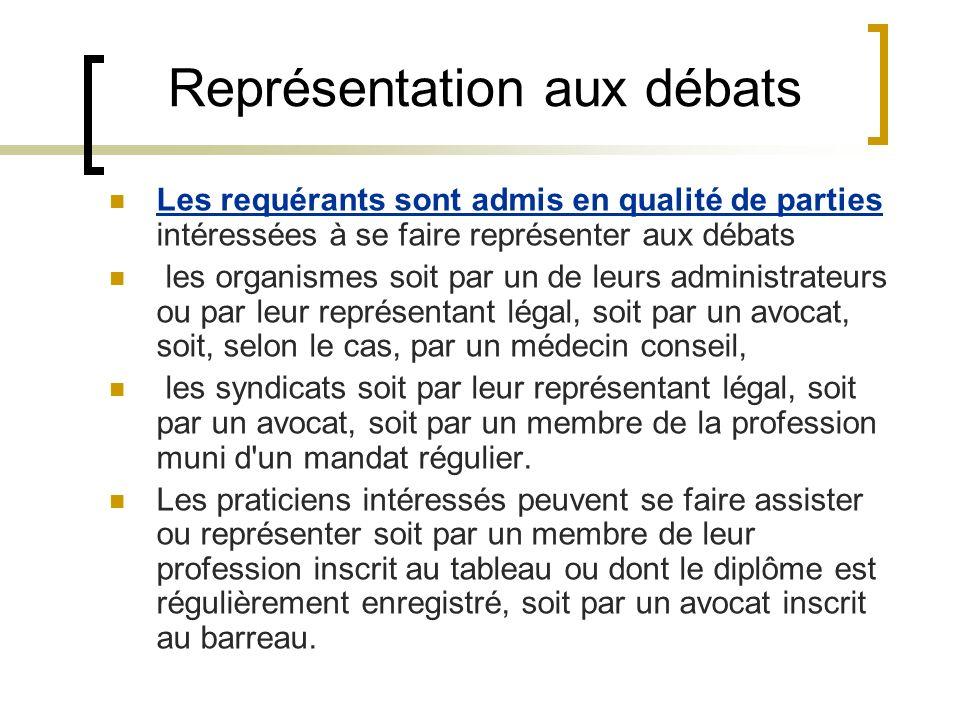 Représentation aux débats