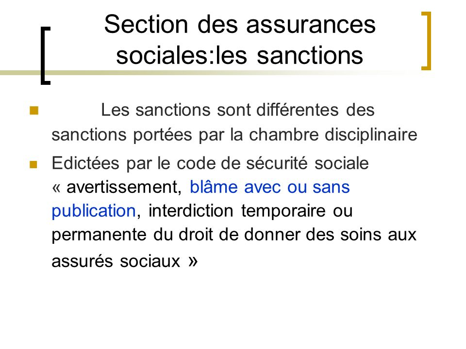 Section des assurances sociales:les sanctions