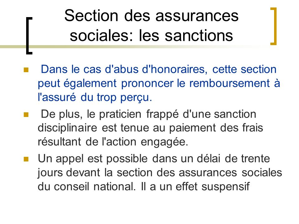 Section des assurances sociales: les sanctions