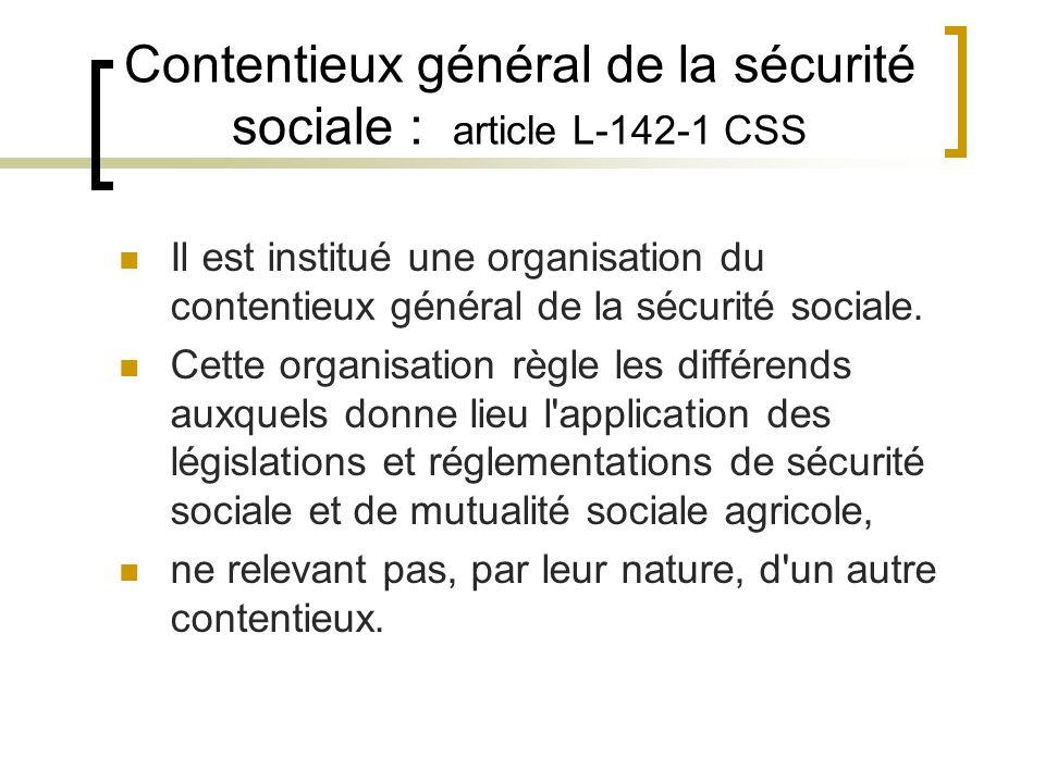 Contentieux général de la sécurité sociale : article L-142-1 CSS